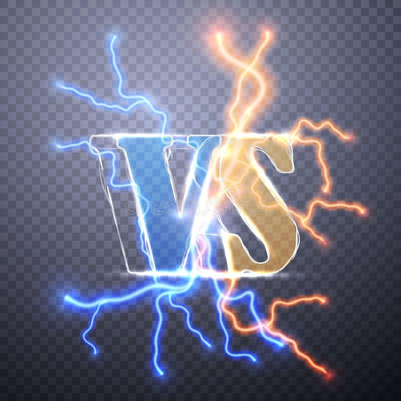 Neon tegenover Embleem VERSUS Vectorbrievenillustratie De concurrentiepictogram Strijdsymbool Digitaal effect van het gloeien, el vector illustratie