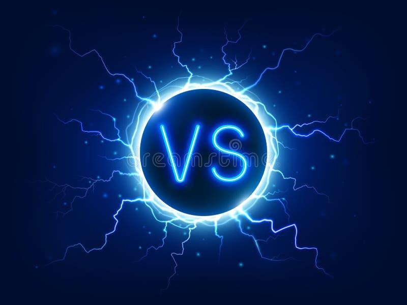 Neon tegenover teken VERSUS de concurrentiesymbool met bliksem, elektrolossingen Duel, strijd en slagpictogramvector vector illustratie