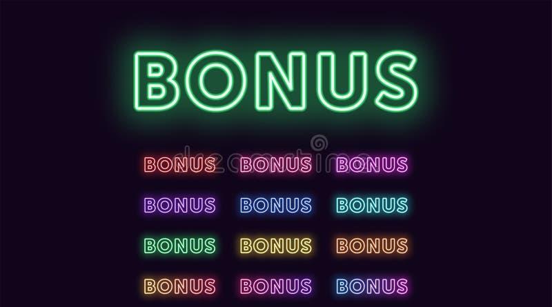 Neon text Bonus, expressive Title, Bonus word stock illustration