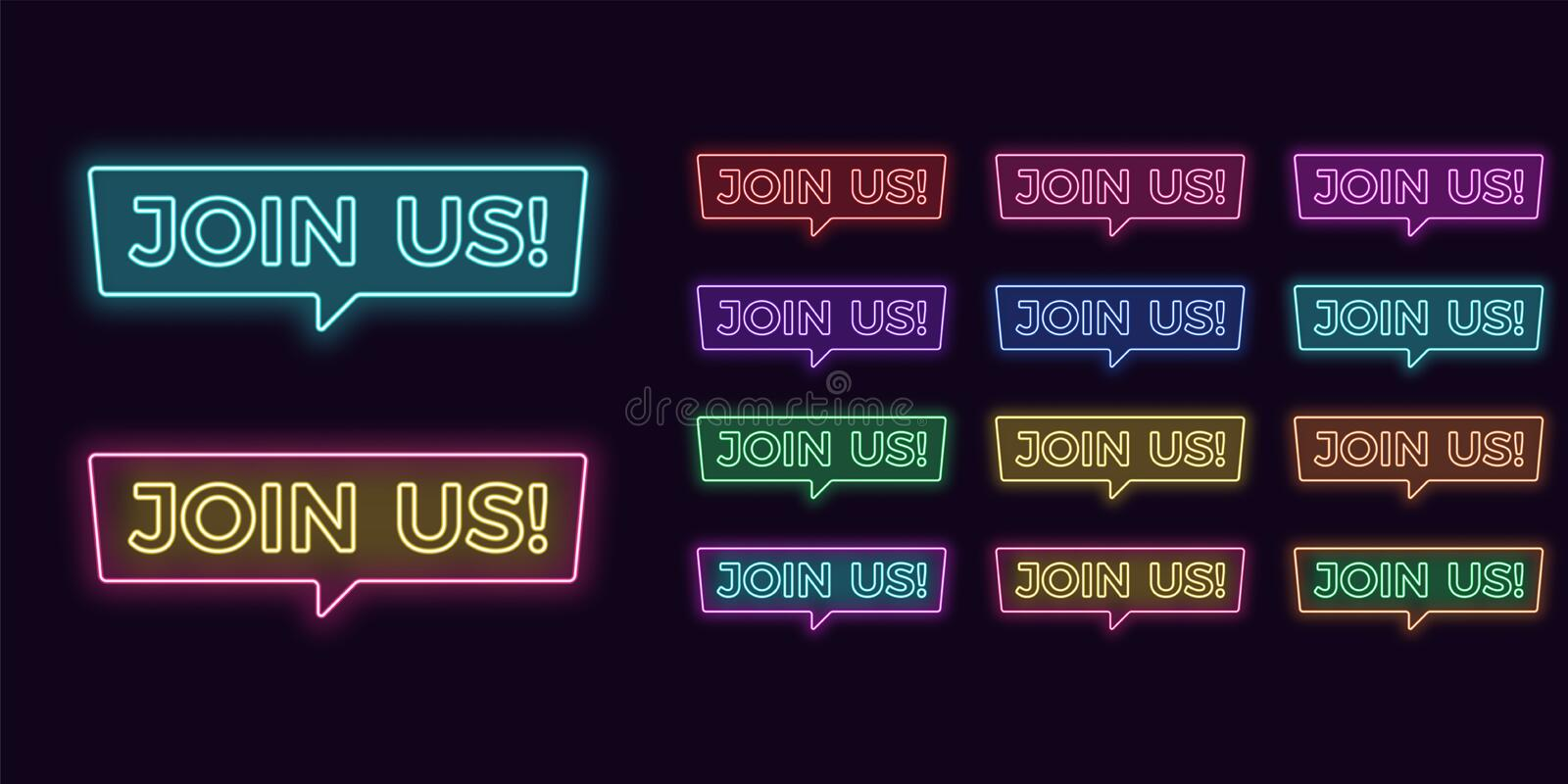 Neon text Join Us, expressive Title Neon signboard. Neon text Join Us, expressive Title. Set of glowing signboard Join Us in Neon outline style with transparent vector illustration