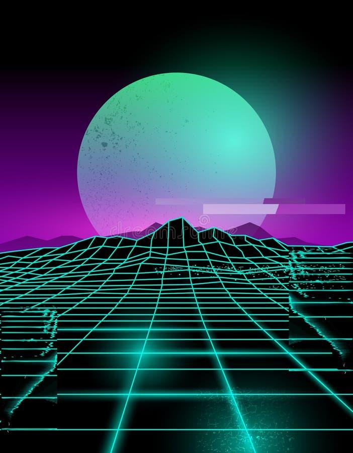 Neon Toekomstige Glitch Achtergrond vector illustratie