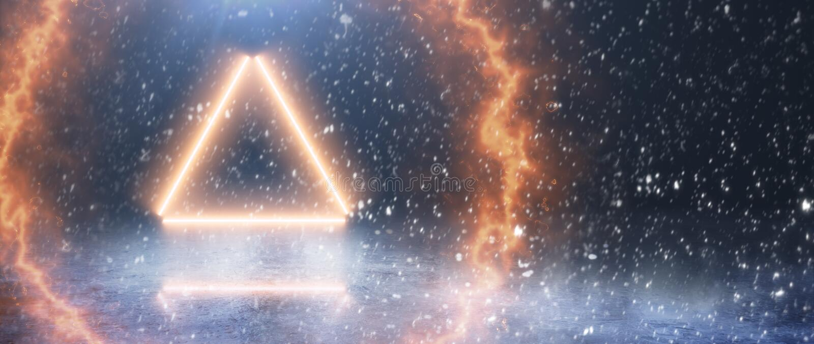 Neon triangle and light against the backdrop of winter. Fire circle. Background. Neon triangle and light against the backdrop of winter. Fire circle stock photography