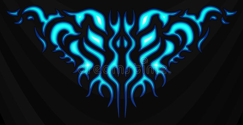 Neon tribal blue flames, sticker on the hood. Car Bike Vehicle Graphics, Vinyls & Decals. Abstract flame vector illustration