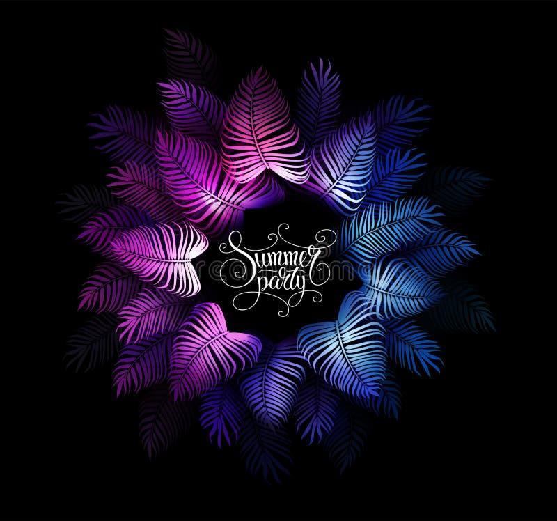 Neon tropikalne nocne wektory letnie Impreza hawajska Ciemna dżungla egzotyczna ilustracja z dłonią ilustracji