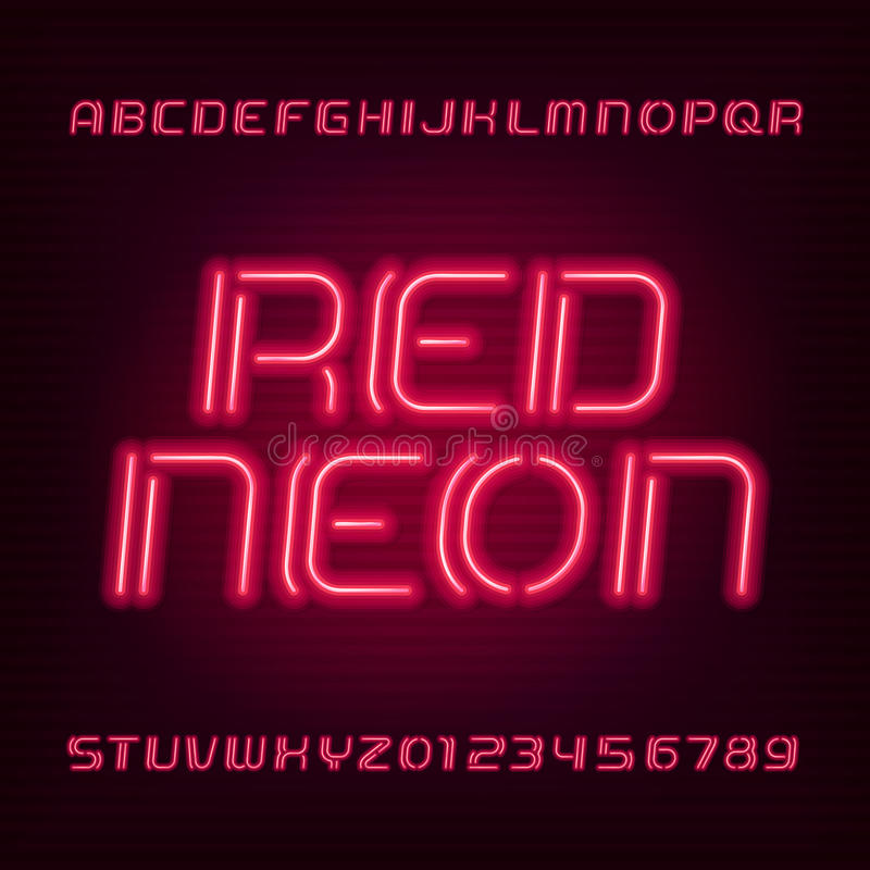 Neon tube alphabet font. Type letters and numbers. Blue color on a dark background. Neon tube alphabet font. Type letters and numbers. Red color on a dark vector illustration