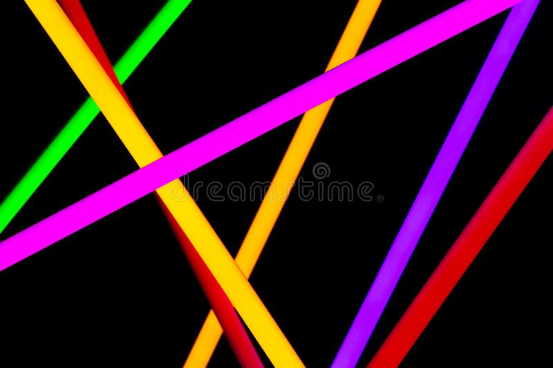 Neon Tube arrange in many lines to show color LED stock photography