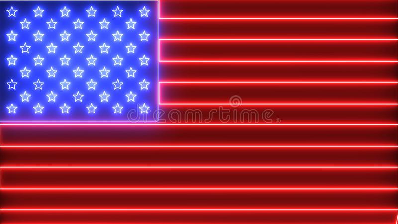 Neon United States of America flag. Red stripped and blue stars, USA flag with glowing neon, led light.  stock image
