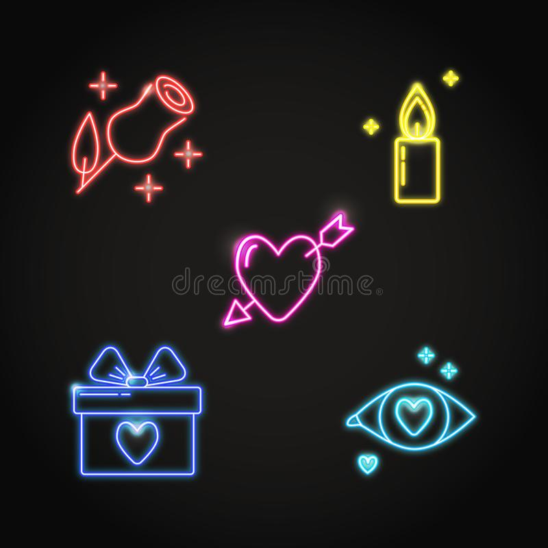 Neon Valentine day icon set in line style vector illustration