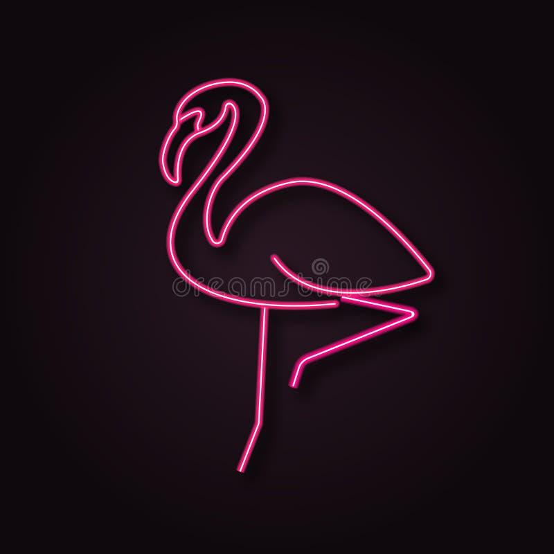 Neon vector flamingo. 3d line light logo royalty free illustration