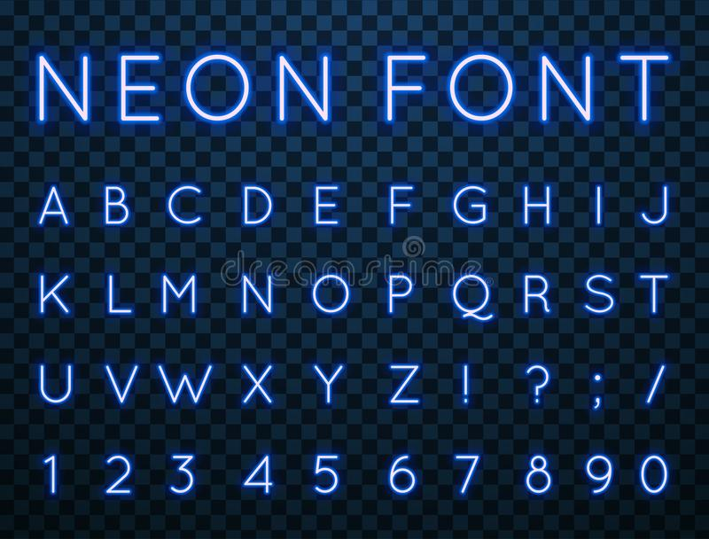 Neon, vector font. Vector set of characters in retro style. Neon font. Alphabet with glow effect. The letters and numbers in the style of techno vector illustration