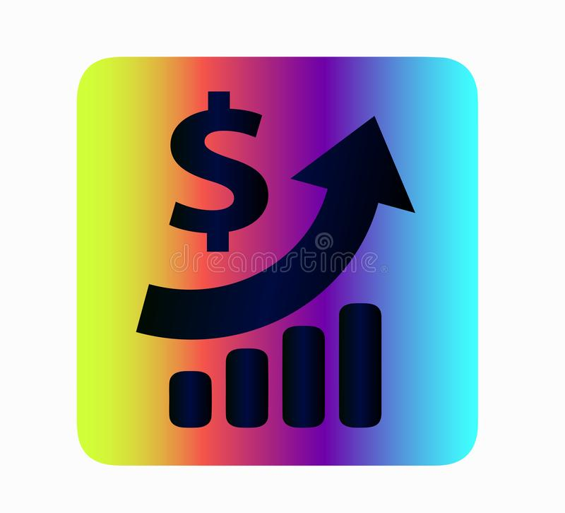 Neon vector dollar rate icon - currency exchange. Neon vector icon dollar icon. Iconography money growth, banking scheme. Currency exchange - an idea for a stock illustration
