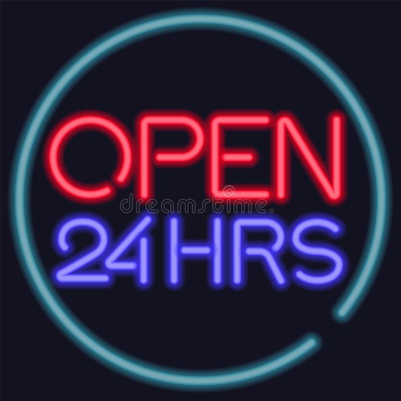 Neon vector open 24 hours entrance sign. vector illustration