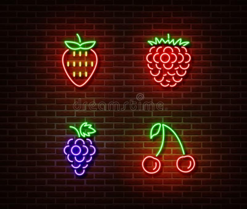 Neon vegetables berrys signs vector isolated on brick wall. Strawberry, raspberry, cherry, grape lig royalty free illustration