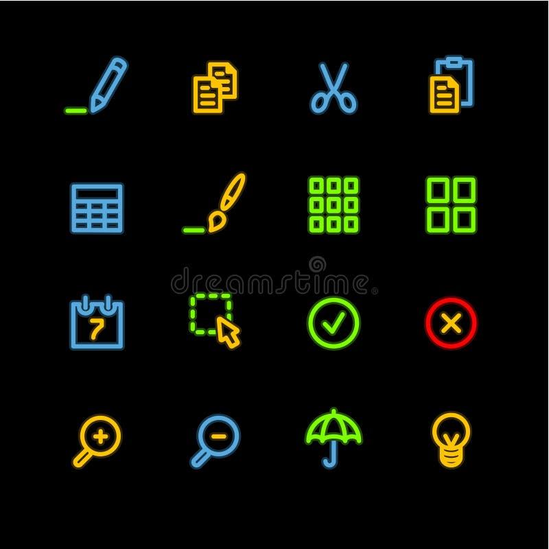 Neon veröffentlicht Ikonen stock abbildung