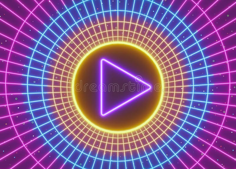 Neon video Play Button with round abstract shapes for social media. 3d rendering vector illustration