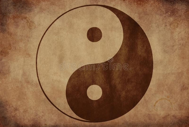 Vintage yin yang banner royalty free stock image