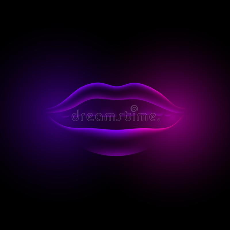 Neon violet glowing female lips. 3d fluorescent virtual girl mouth on a black background royalty free illustration