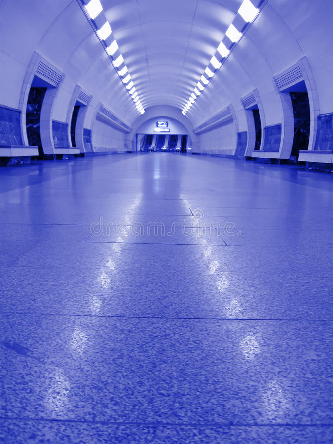 Neon violet subway interior, nobody, tunnel