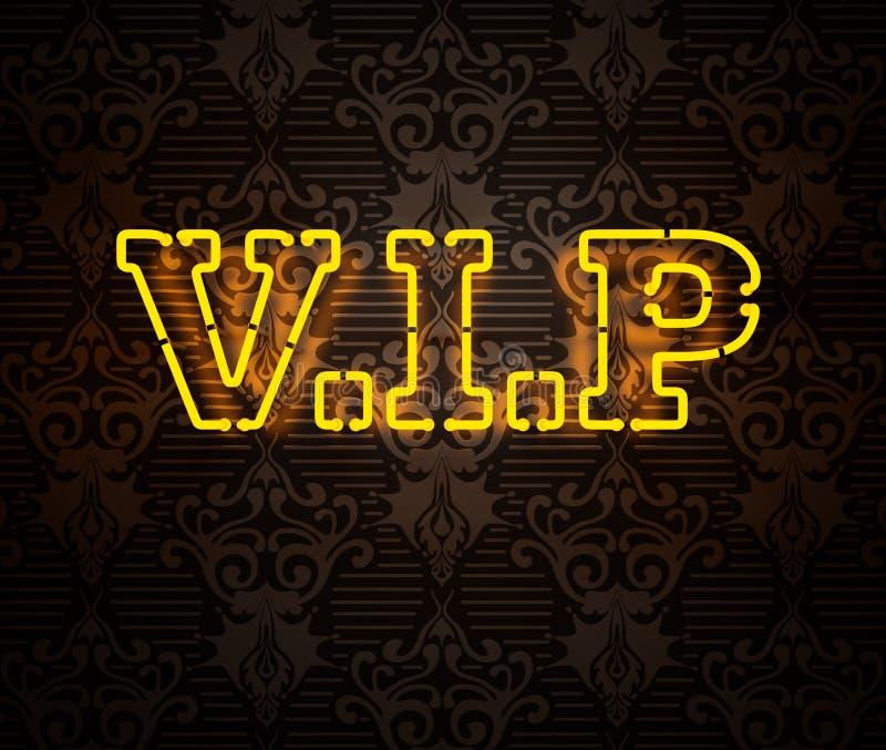 Neon VIP undertecknar II vektor illustrationer