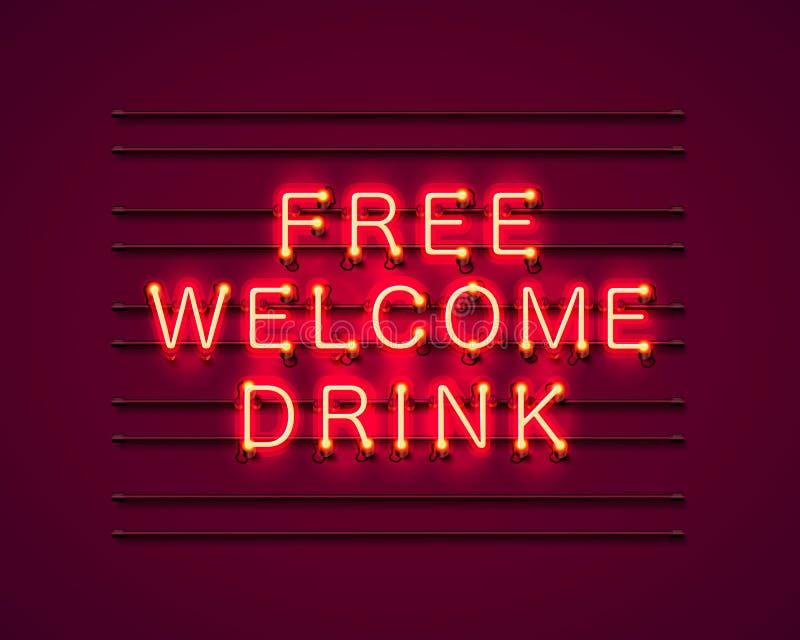 Neon vrije welkome drank royalty-vrije illustratie