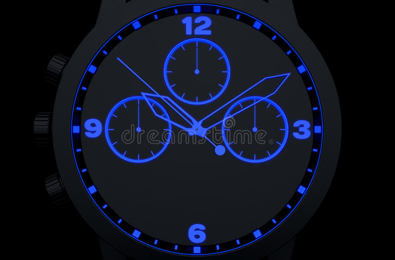 Neon Watch Face. A macro closeup of a modern neon blue lit watch face in black - 3D render stock illustration