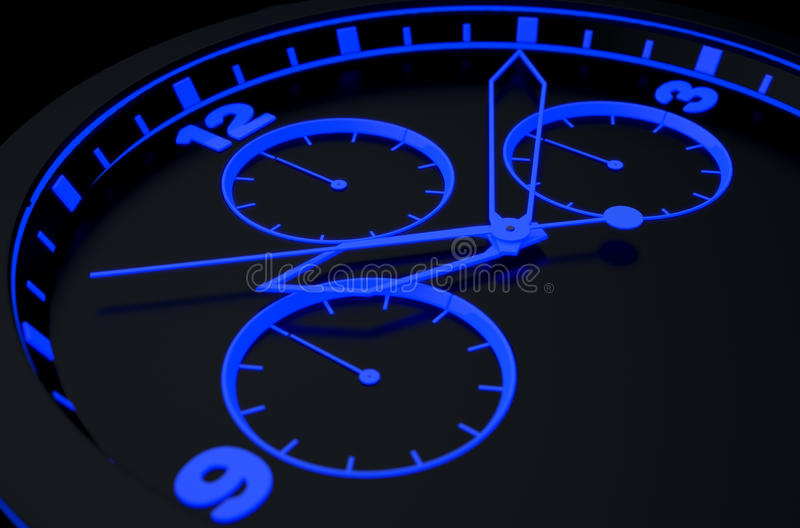 Neon Watch Face. A macro closeup of a modern neon blue lit watch face in black - 3D render royalty free illustration