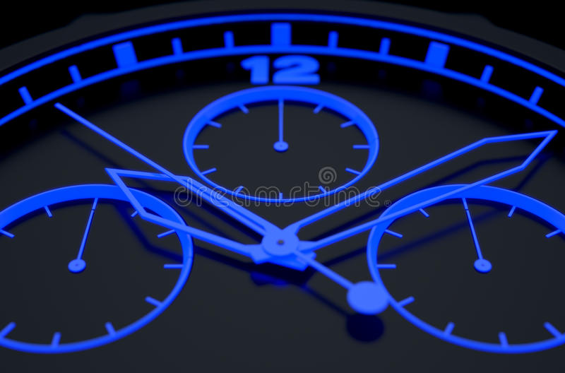 Neon Watch Face. A macro closeup of a modern neon blue lit watch face in black - 3D render vector illustration