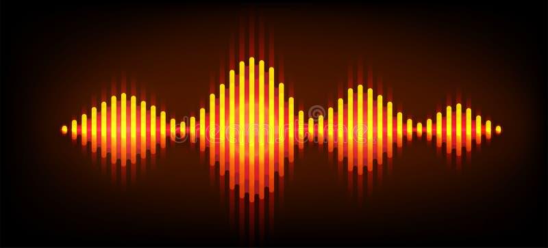 Neon wave sound vector background. Music soundwave design, orange light elements isolated on dark backdrop. Radio vector illustration