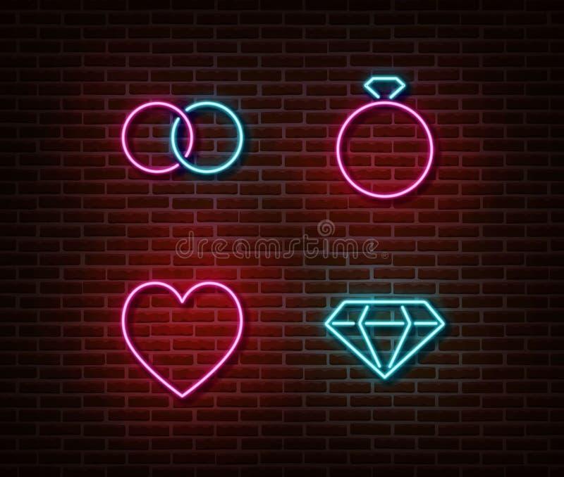 Neon wedding signs vector isolated on brick wall. Wedding rings, diamond, heart light symbol, decora. Tion effect. Neon love illustration stock illustration