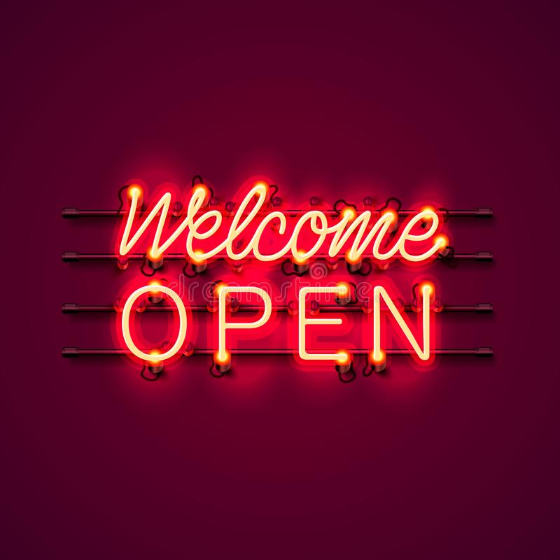 Neon welcome open signboard. royalty free illustration