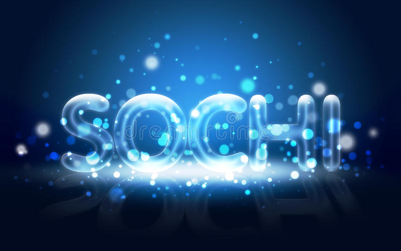 Neon Written  Sochi. Winter Olympic Games 2014. Stock Photography