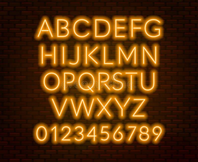 Neon yellow alphabet on brick wall background. Capital letter. Vector illustration royalty free illustration