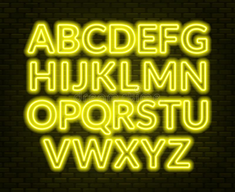 Neon yellow alphabet on brick wall background. Capital letter. Vector illustration vector illustration