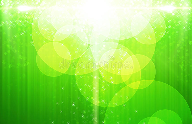 Neon Yellow & Green Star Orb Clouds royalty free illustration