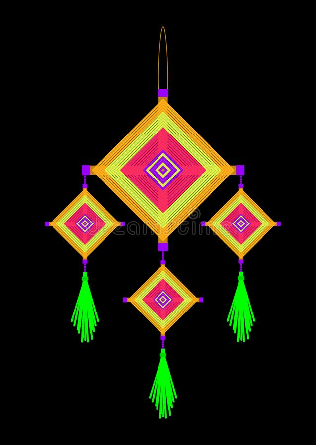 Neon yellow pink orange green violet god`s eyes hanging mobile vector illustration
