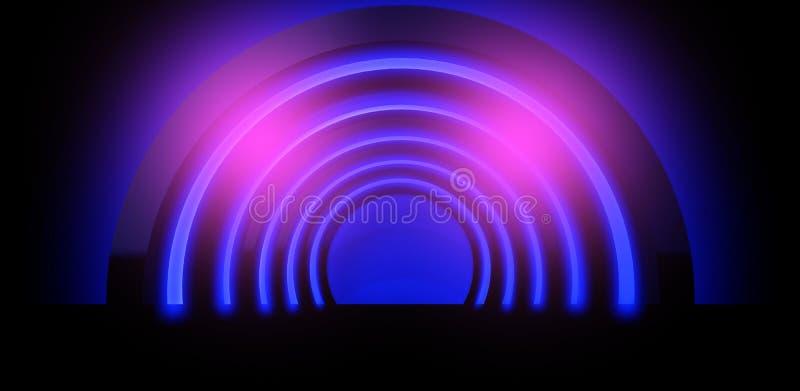 Neonachtergrond Boog het 3D teruggeven vector illustratie