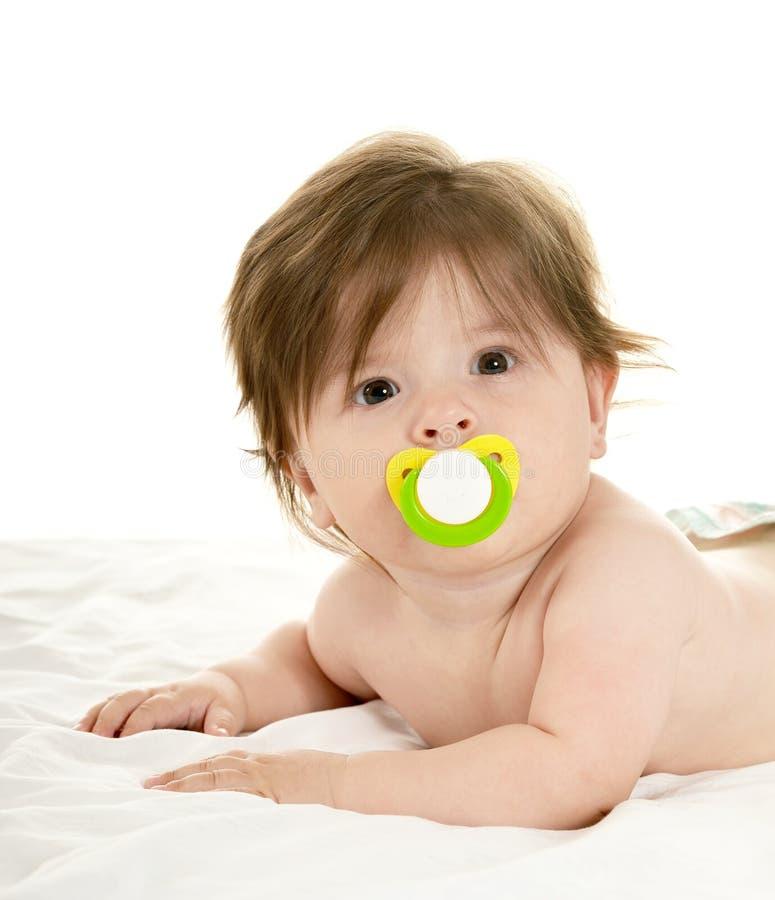 Neonata adorabile con la tettarella immagini stock libere da diritti