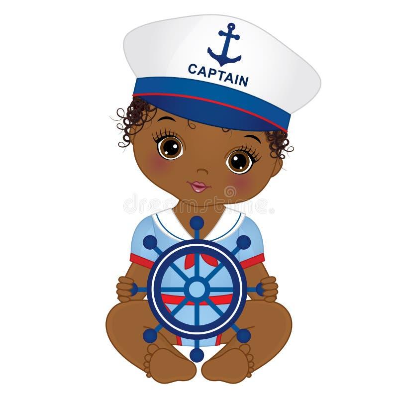 Neonata afroamericana sveglia di vettore vestita nello stile nautico illustrazione di stock
