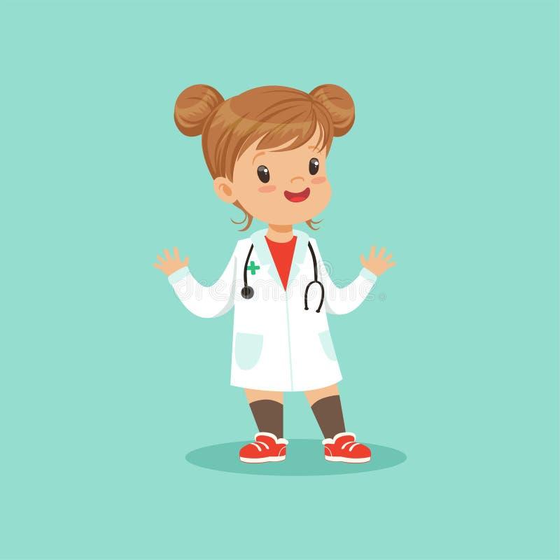 Neonata allegra in cappotto e stetoscopio medici bianchi intorno al suo collo che gioca al dottore ruolo, illustrazione piana di  illustrazione di stock
