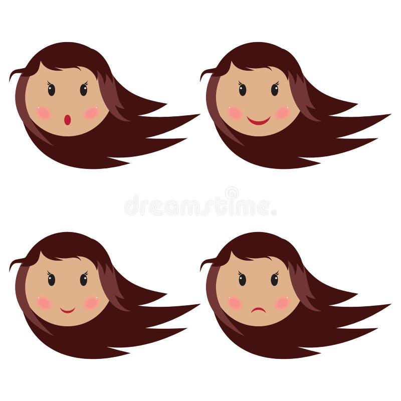Neonata che fa un isoletad differente di quattro espressioni del fronte sul bianco royalty illustrazione gratis