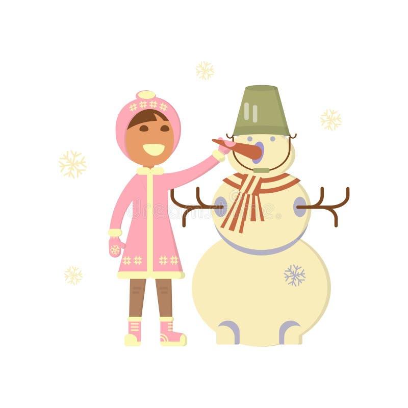 Neonata con il pupazzo di neve illustrazione vettoriale