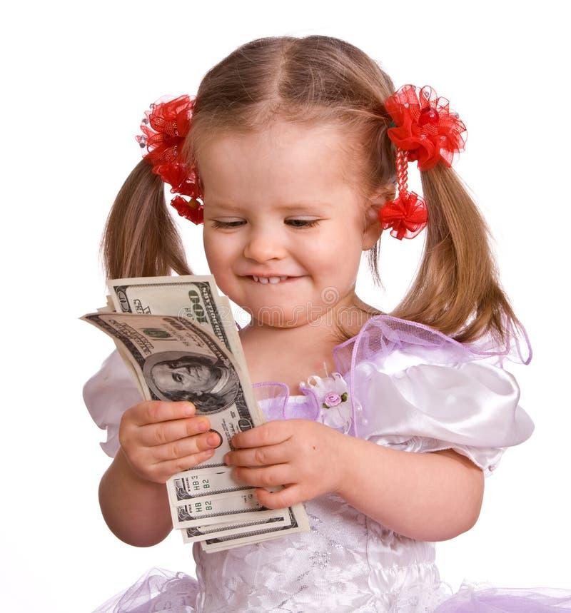 Neonata con la banconota del dollaro. fotografie stock