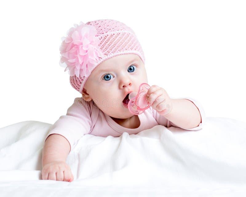 Neonata con la tettarella fotografia stock