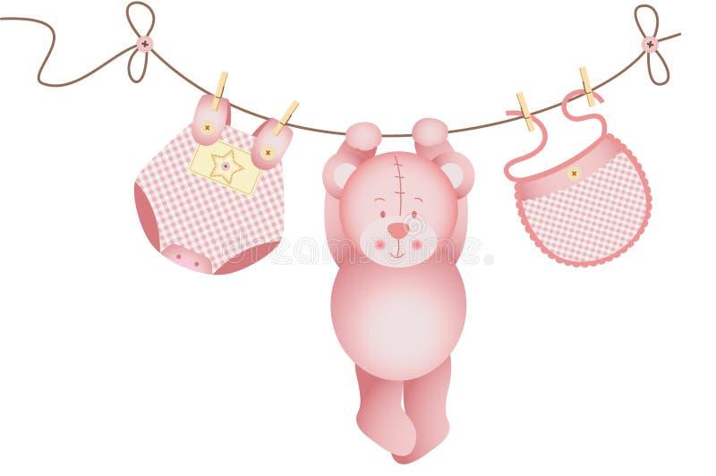 Download Neonata Dell'orsacchiotto Che Appende Su Una Corda Da Bucato Illustrazione Vettoriale - Illustrazione di sonno, arrivo: 30825397