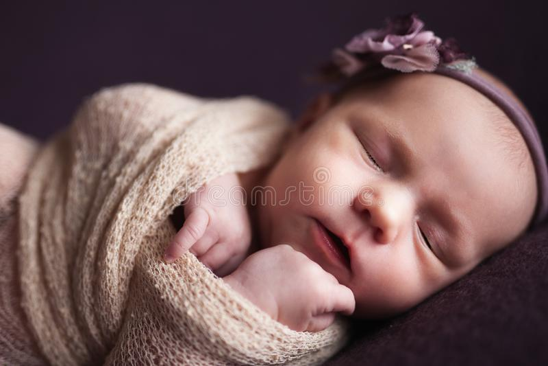 Neonata infantile del primo piano che dorme al fondo Concetto del mothercare e neonato fotografie stock libere da diritti