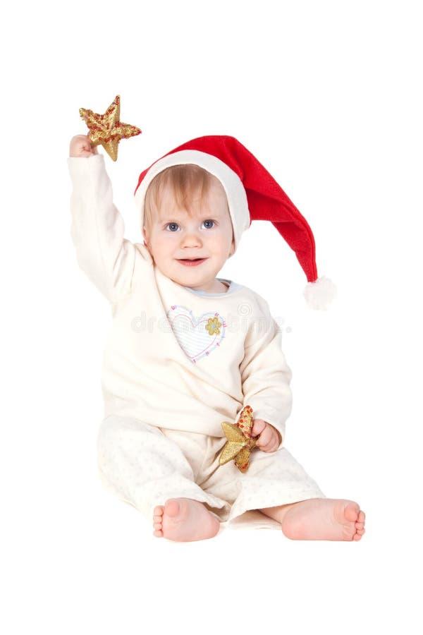 Neonata sorridente in Santa fotografia stock libera da diritti