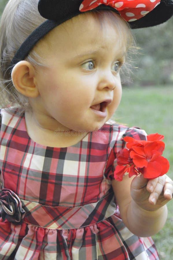 Neonata strabiliante di bellezza che tiene un fiore immagini stock