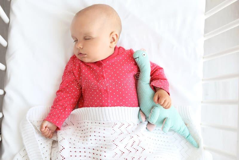 Neonata sveglia che dorme in greppia, immagini stock libere da diritti