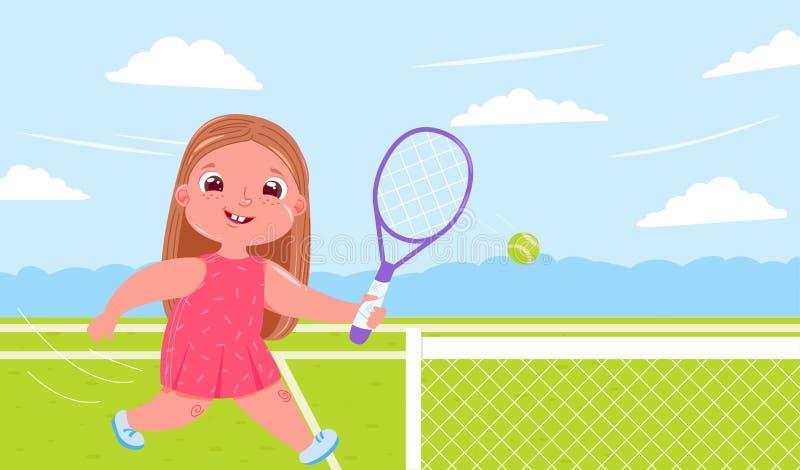 Neonata sveglia che gioca a tennis con il raquet alla corte Fare vita sana di sport Routine quotidiana illustrazione vettoriale