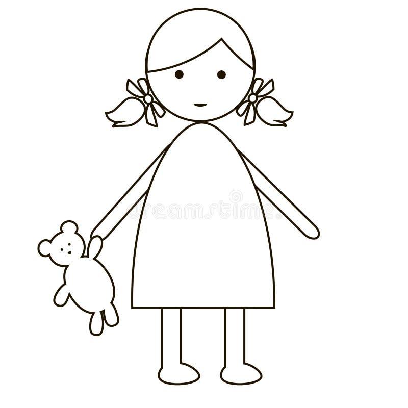 Neonata sveglia del fumetto isolata su un fondo bianco progettazione piana semplice royalty illustrazione gratis